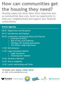 Greater Birmingham Community Led Housing Network - Event 30th Jan2