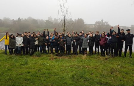 Volunteers planting trees at Witton Lakes